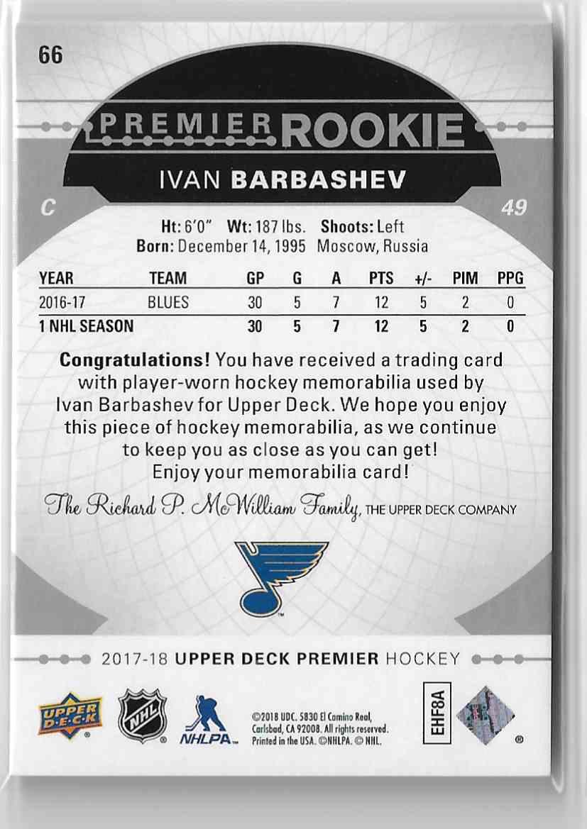 2017-18 Upper Deck Premier Jersey Ivan Barbashev #66 card back image