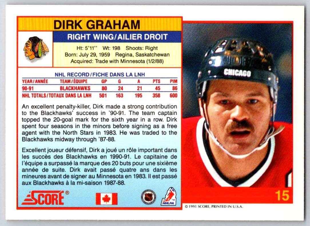 1991-92 Score Canadian Bilingual Dirk Graham #15 card back image