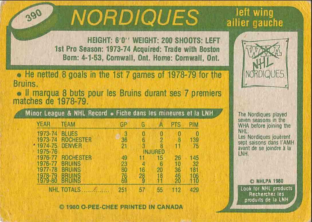 1980-81 O-Pee-Chee John Wensink #390 card back image