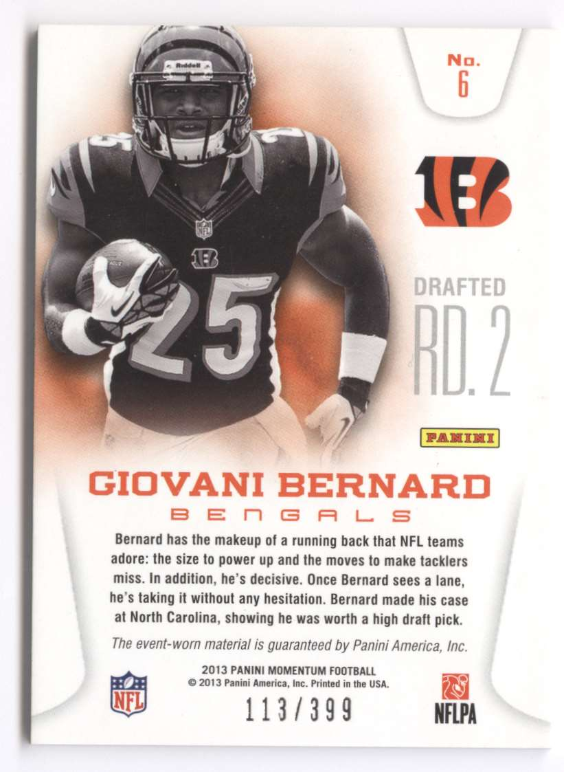 2013 Panini Momentum Rookie Team Threads Combo Materials Giovani Bernard #6 card back image
