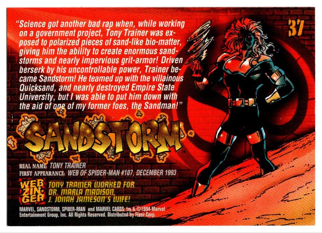 1994 Amazing Spider-Man Sandstorm #37 card back image