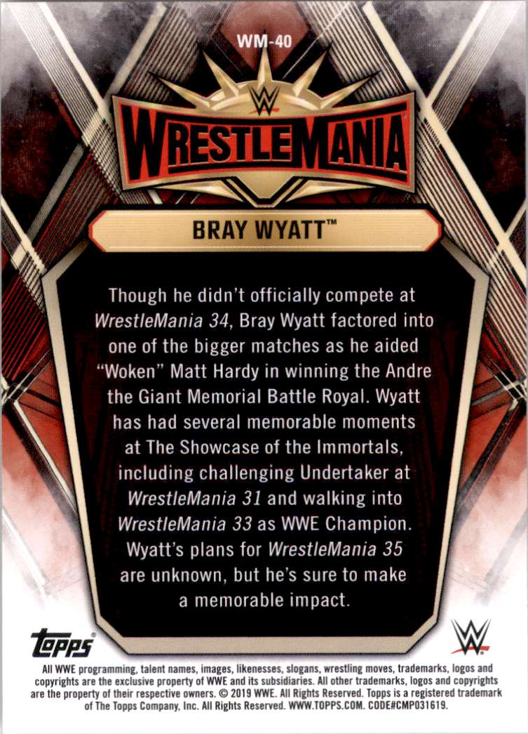 2019 Topps Wwe Road To WrestleMania WrestleMania 35 Roster Bray Wyatt #WM40 card back image