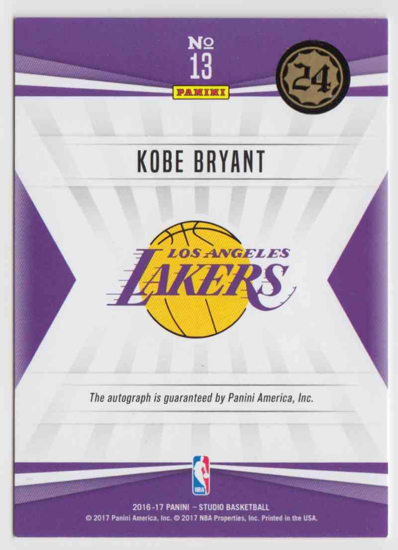 2016-17 Panini Studio Signatures Kobe Bryant #13 card back image