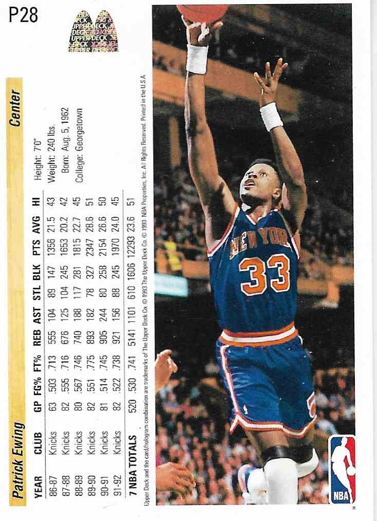 1993-94 Upper Deck McDonald Patrick Ewing #P28 card back image