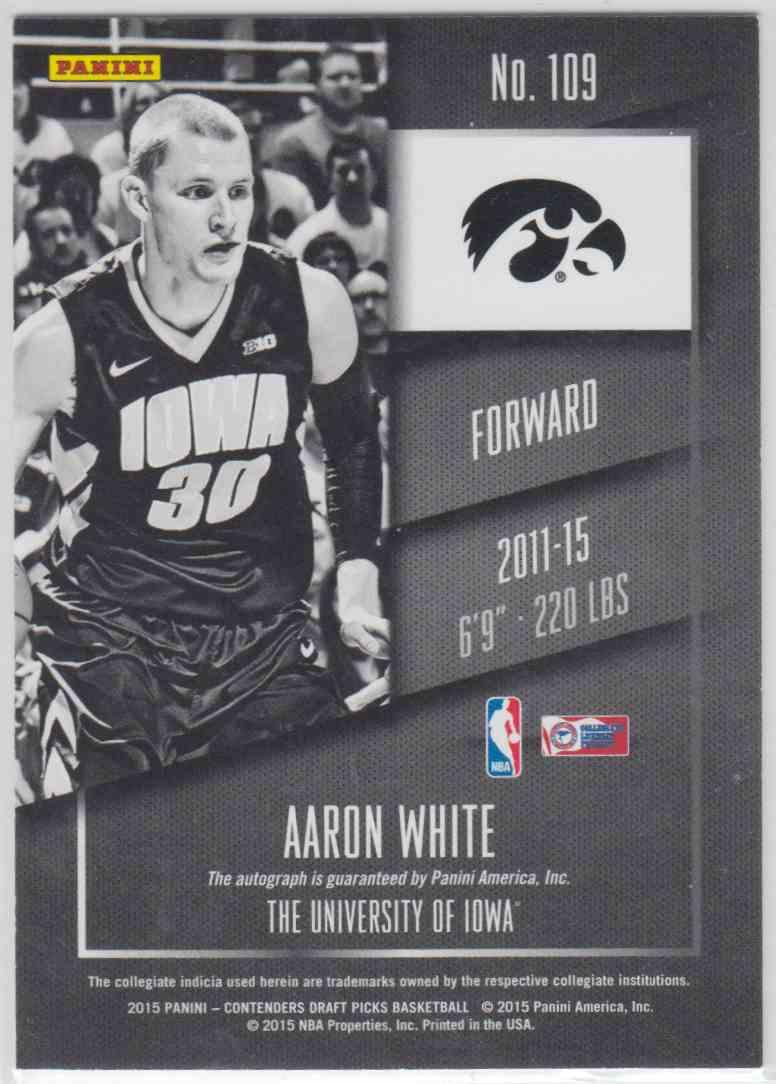 Verzamelingen 2015-16 Panini Contenders Draft Picks #109 Aaron White Iowa Hawkeyes Auto Card