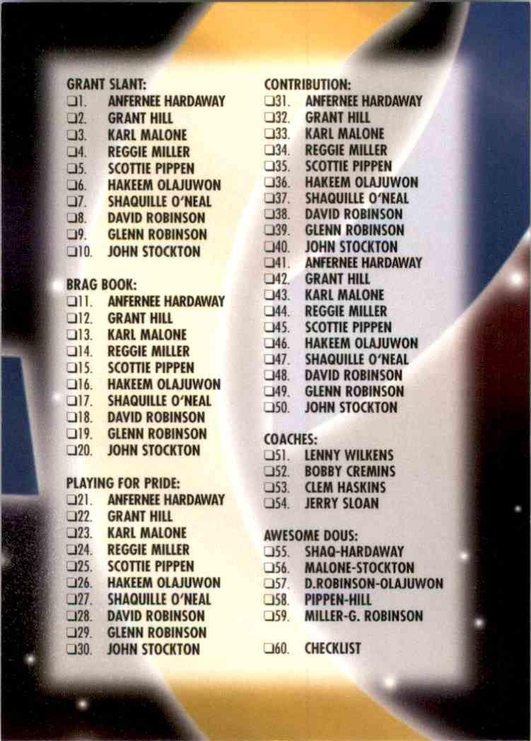 1996-97 SkyBox USA Checklist #60 card front image