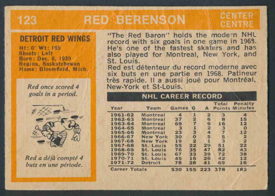 1972-73 O-Pee-Chee Red Berenson #123 card back image