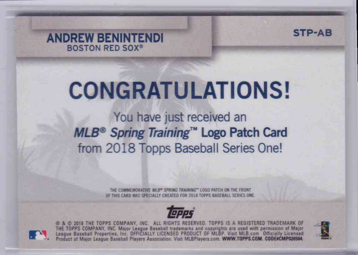 2018 Topps Series 1 MLB Spring Training Logo Patch Andrew Benintendi #STP-AB card back image