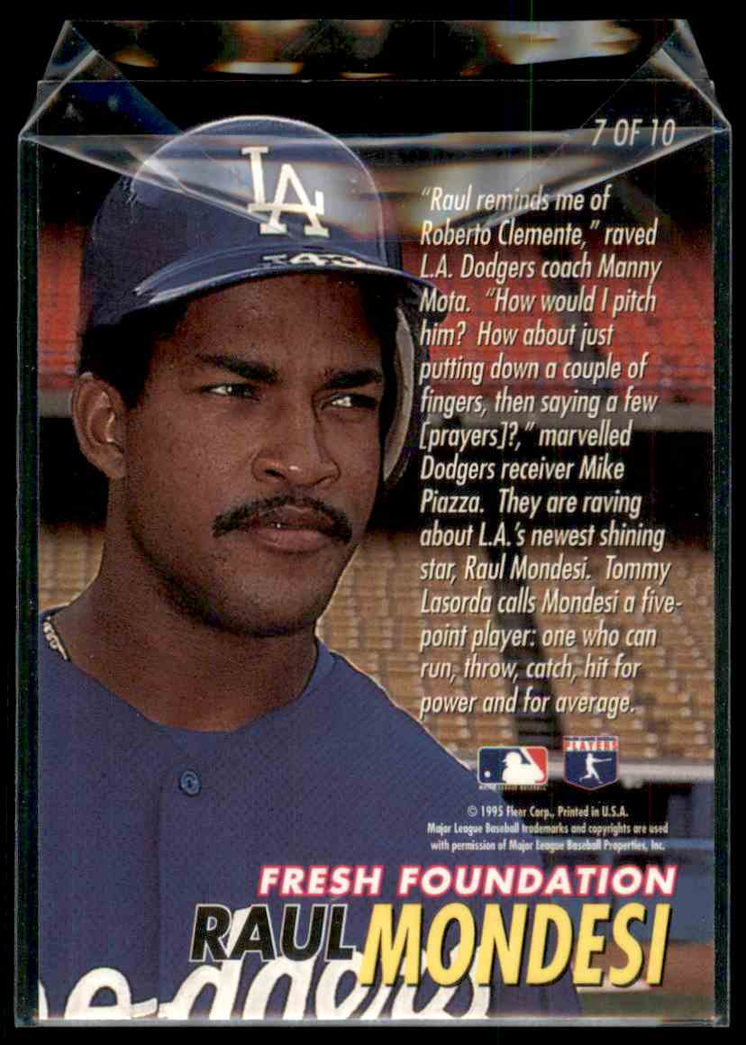 1996 Fleer Ultra Fresh Foundations Raul Mondesi #7 card back image