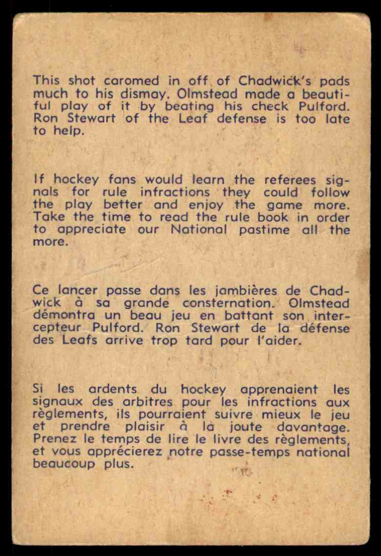 1957-58 Parkhurst Olmsteadbeats Chadwick #25 (03) card back image