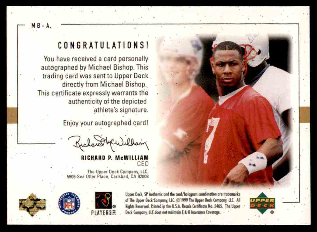 1999 SP Player's Ink Michael Bishop #MB-A card back image