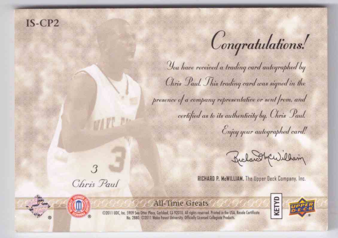 2011-12 Upper Deck All Time Greats Illustrious Signatures Chris Paul #IS-CP2 card back image