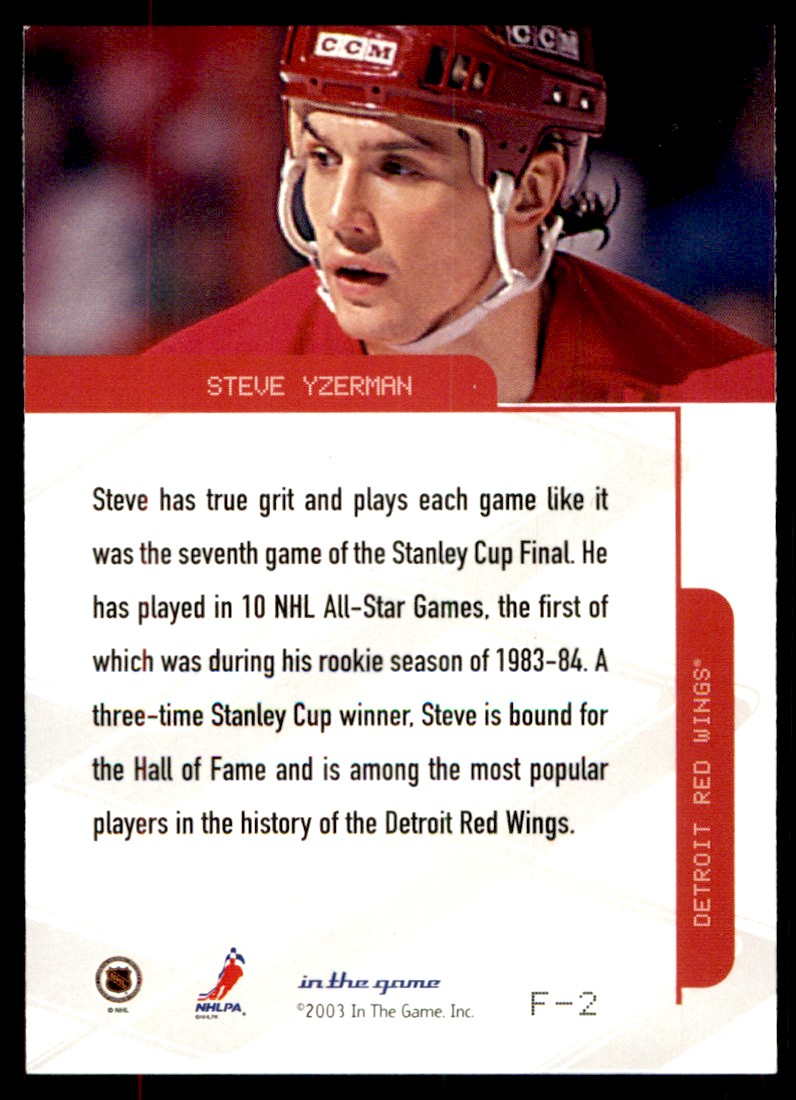 2003-04 In The Game Toronto Star Foil Steve Yzerman #F-2 card back image