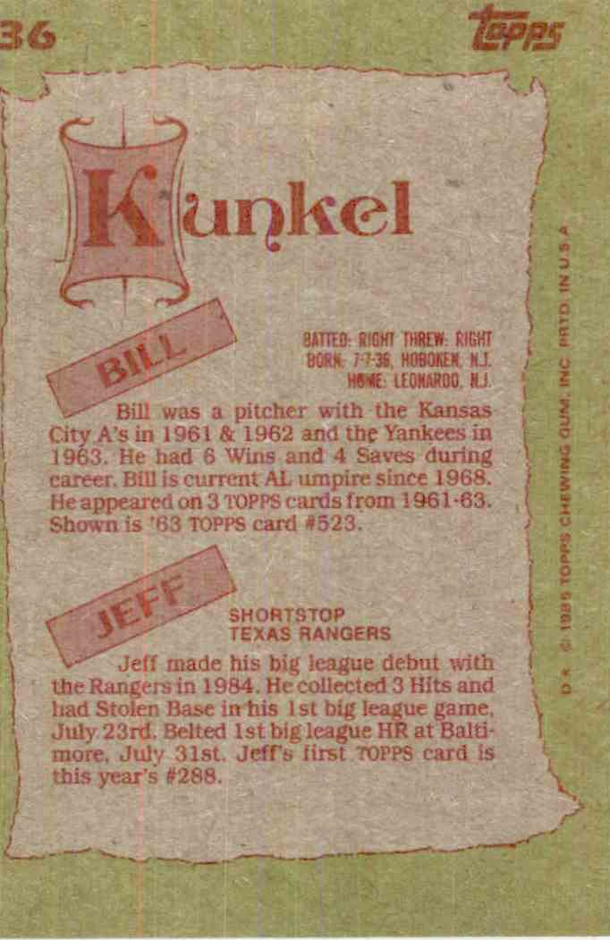 1985 Topps Bill Kunkel, Jeff Kunkel #136 card back image