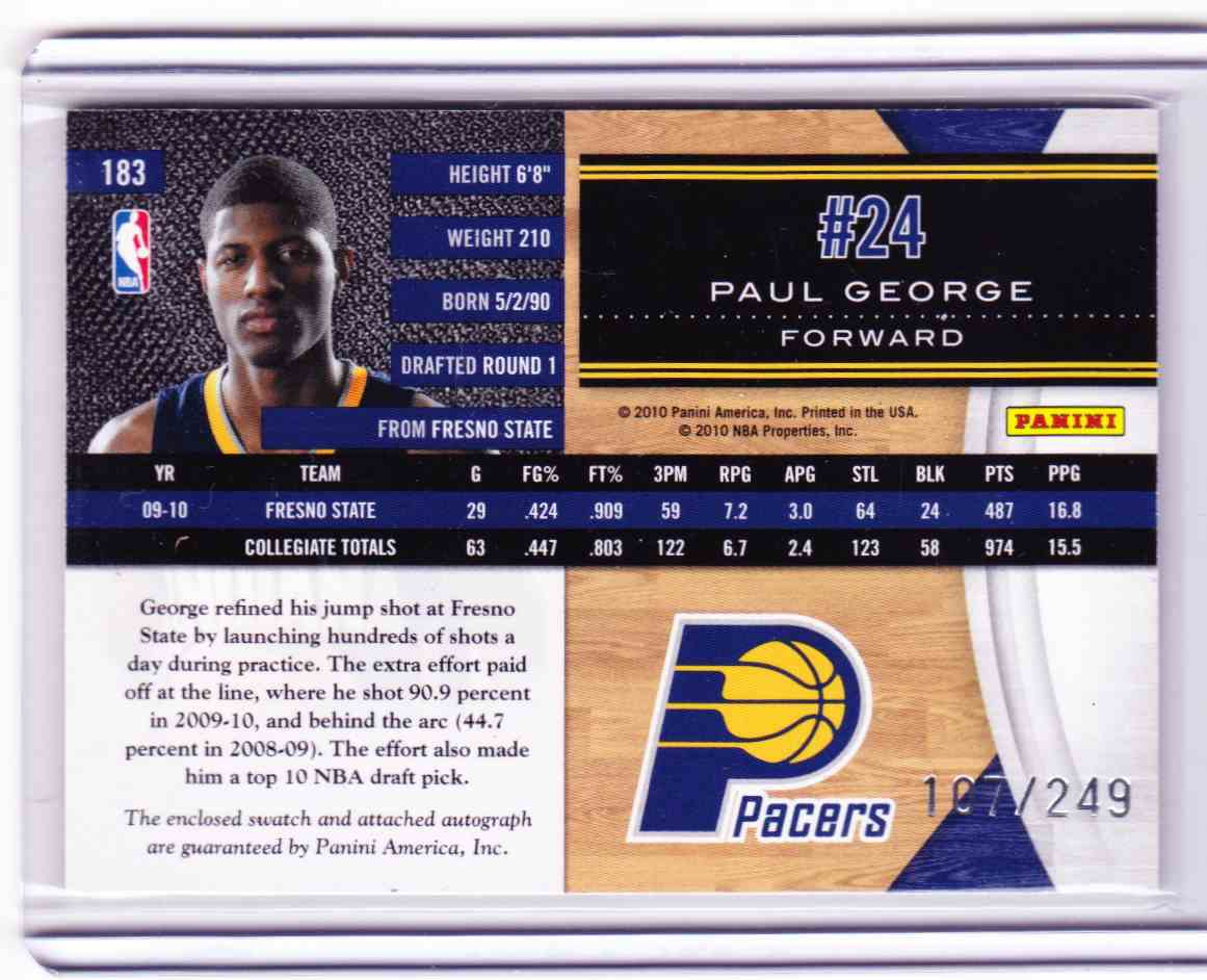 2010-11 Panini Limited Paul George card back image