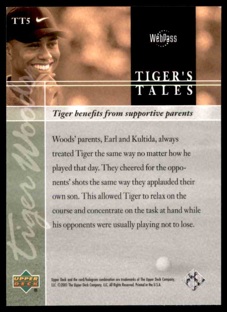 2001 Upper Deck Tiger's Tales Tiger Woods #TT5 card back image