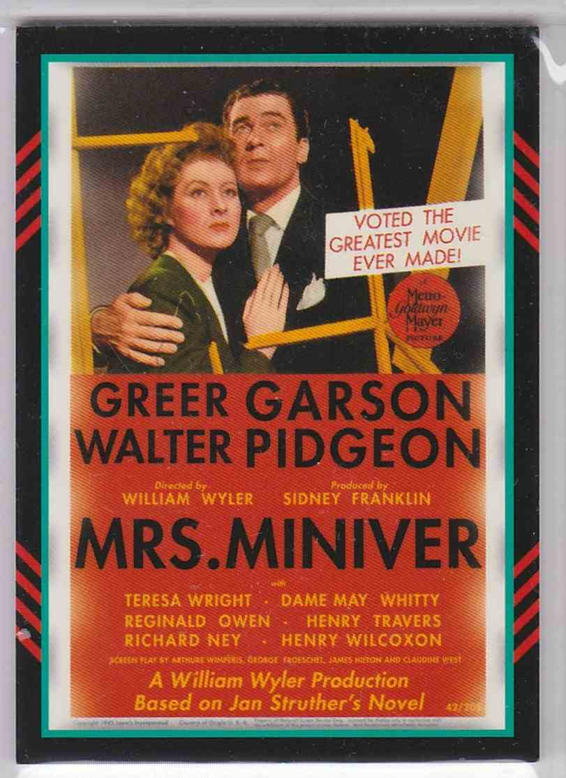 2011 Panini Americana Movie Posters Materials Greer Grayson Teresa Wright #39 card back image