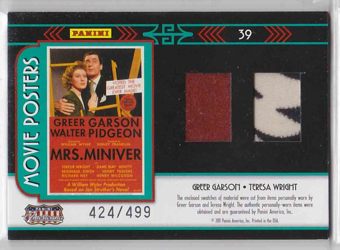 2011 Panini Americana Movie Posters Materials Greer Grayson Teresa Wright #39 card front image