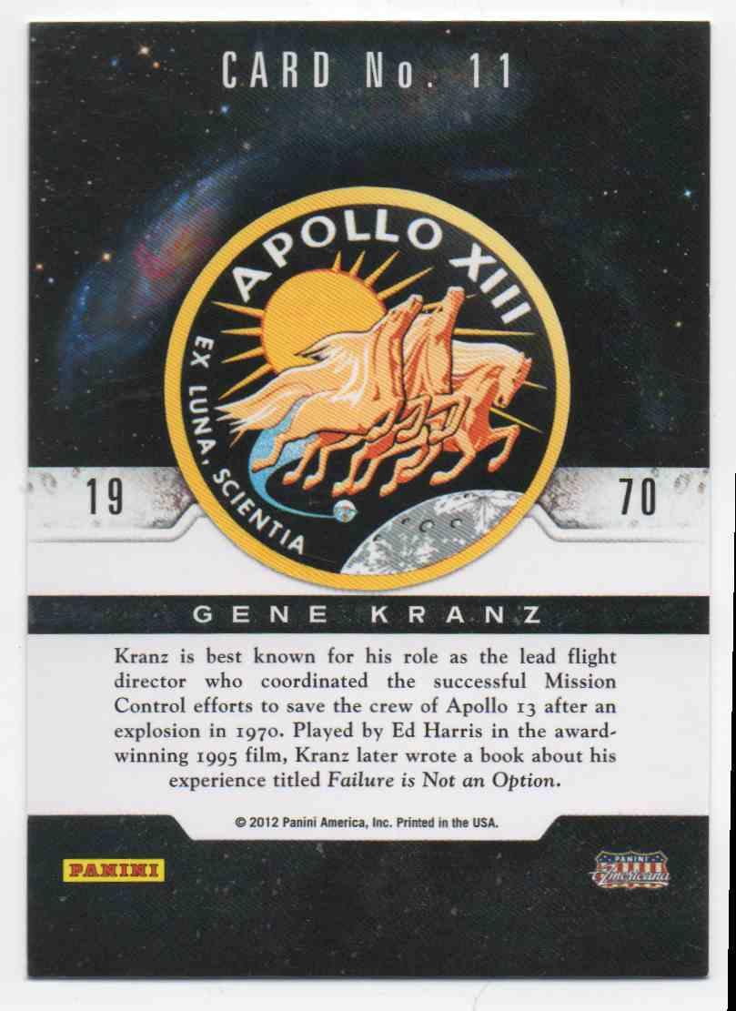 2012 Panini Americana Gene Kranz #11 card back image
