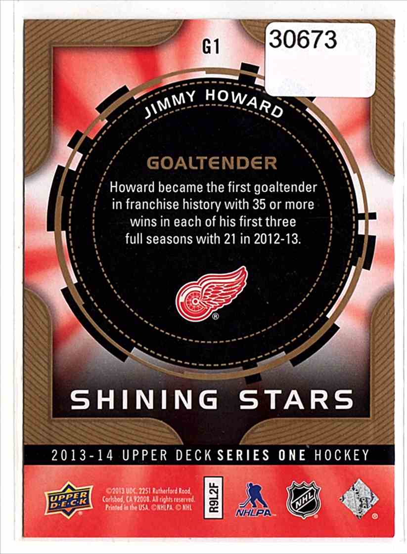 2013-14 Upper Deck Shining Stars Goalies Jim Howard #G1 card back image