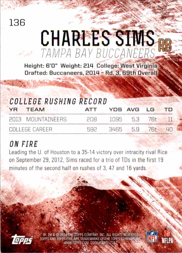 2014 Topps Fire Green Charles Sims #136 card back image