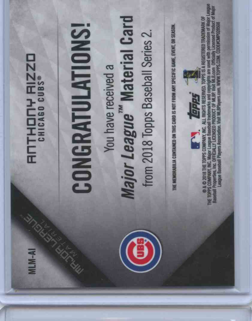 2019 Topps Series II Anthony Rizzo #MLM-AI card back image