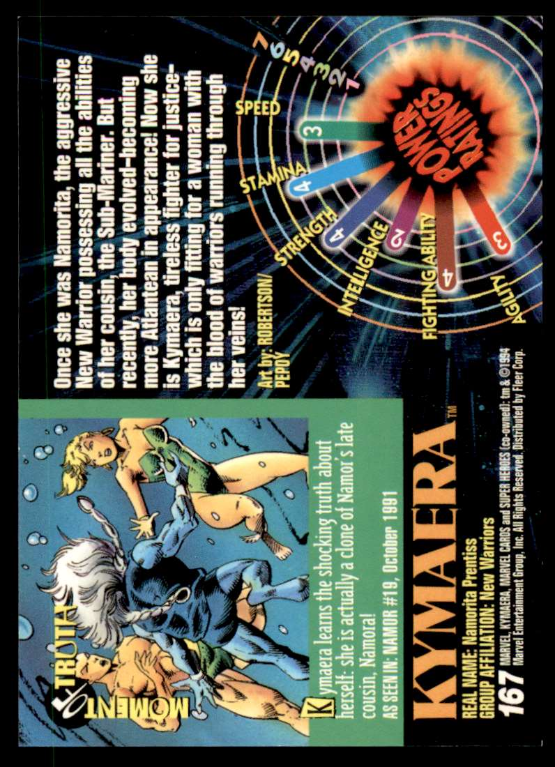1994 Marvel Universe Kymaera #167 card back image