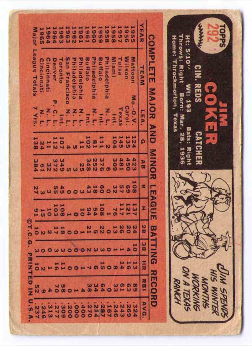 1966 Topps Baseball Card Jim Coker #292 card back image
