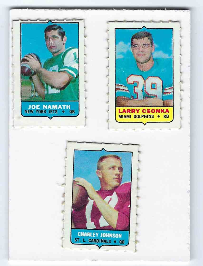 1969 Topps 4 In 1 Stamps Singles With 3 Namaths,9 Czonkas, 1 Charley Johnson & 270 Others W/Dupes card front image
