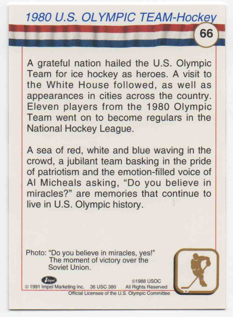 1991 Impel U.S. Olympic Hall Of Fame 1980 Olympic Hockey #66 card back image