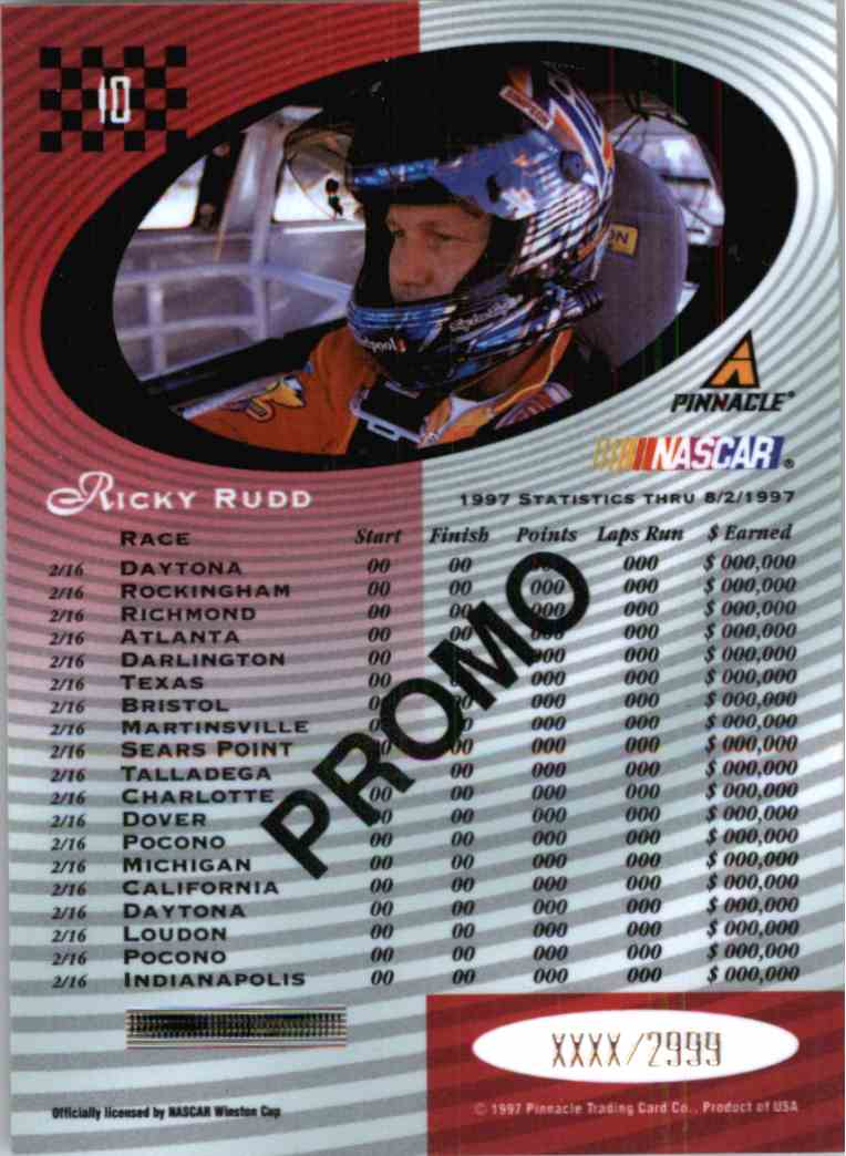 1997 Pinnacle Certified Ricky Rudd #10 card back image