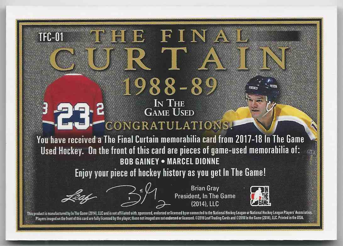 2017-18 ITG Used The Final Curtain Memorabilia Purple Spectrum Bob Gainey Marcel Dionne #TFC-01 card back image