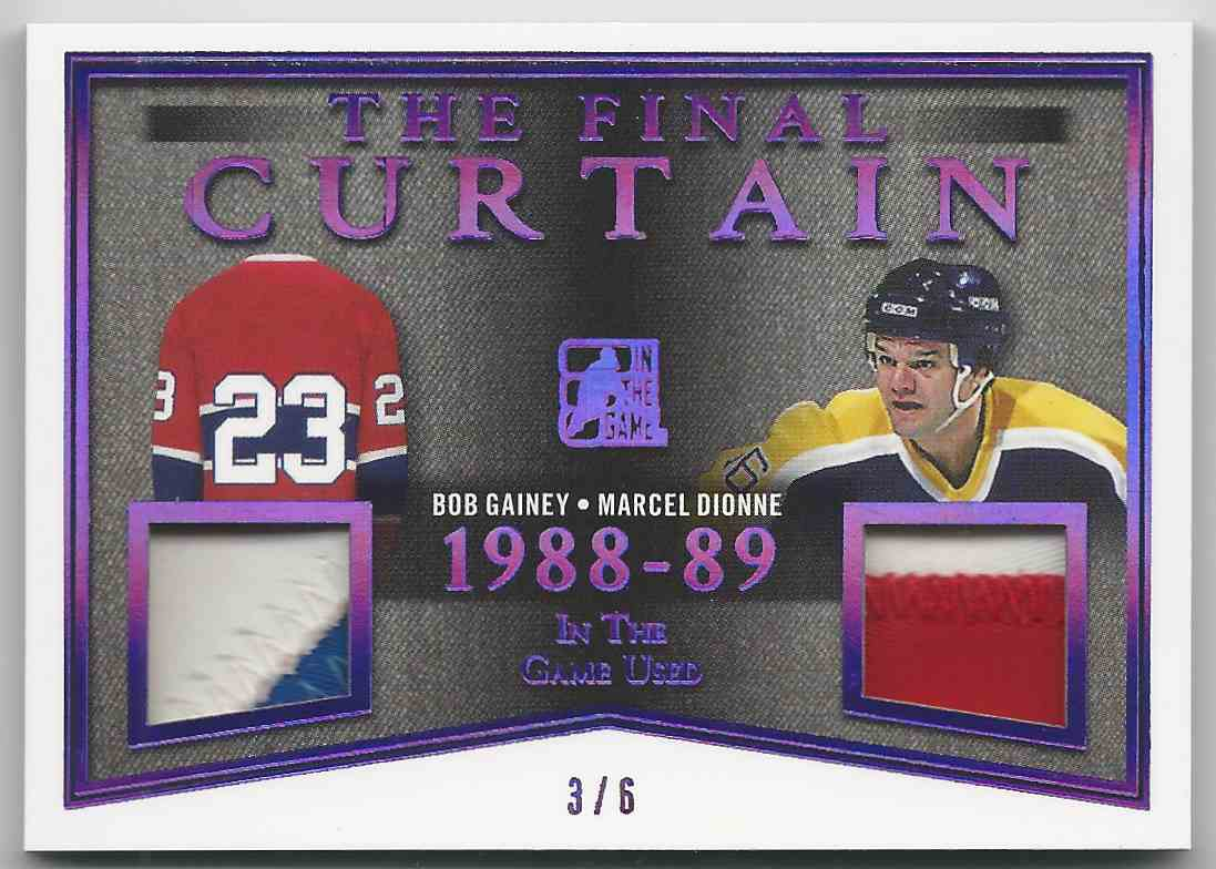 2017-18 ITG Used The Final Curtain Memorabilia Purple Spectrum Bob Gainey Marcel Dionne #TFC-01 card front image