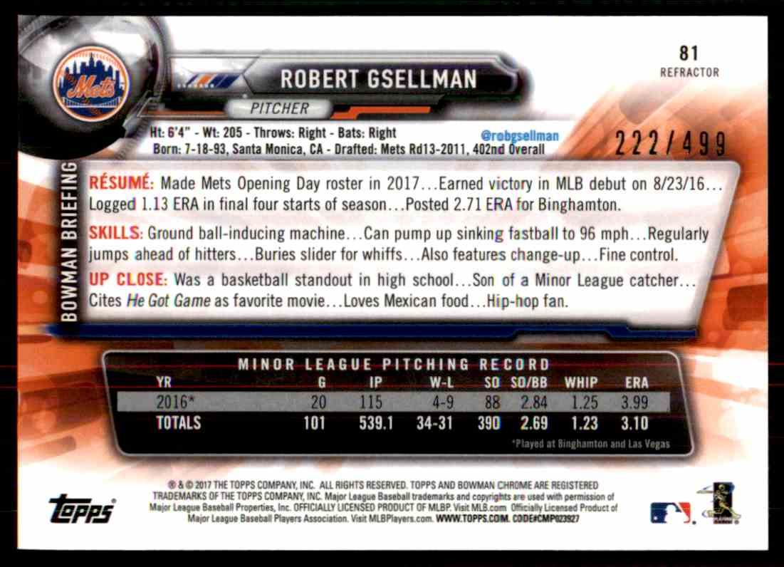2017 Bowman Chrome Robert Gsellman #81 card back image
