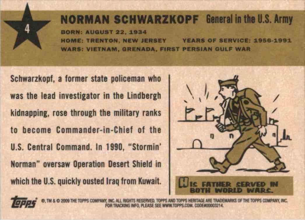 2009 Topps Heritage Norman Schwarzkopf #4 card back image