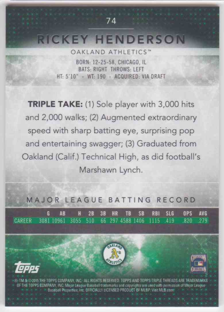 2015 Topps Triple Threads Rickey Henderson #74 card back image