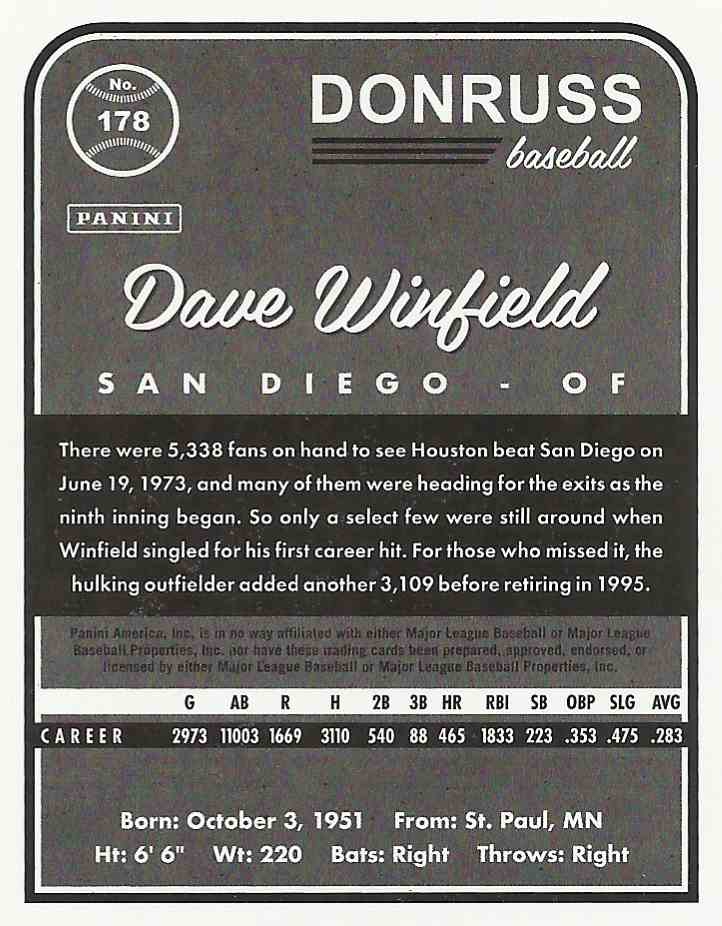 2017 Donruss Dave Winfield #178-A card back image
