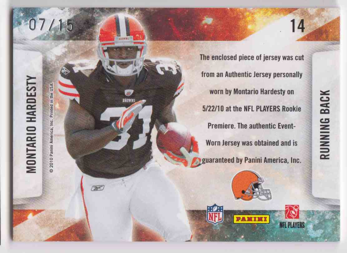 2010 Absolute Memorabilia Star Gazing Montario Hardesty #14 card back image