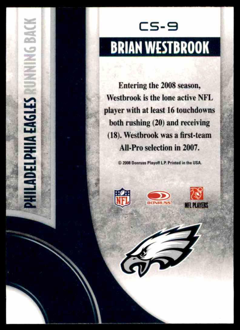 2008 Donruss Threads Century Stars Brian Westbrook #CS-9 card back image