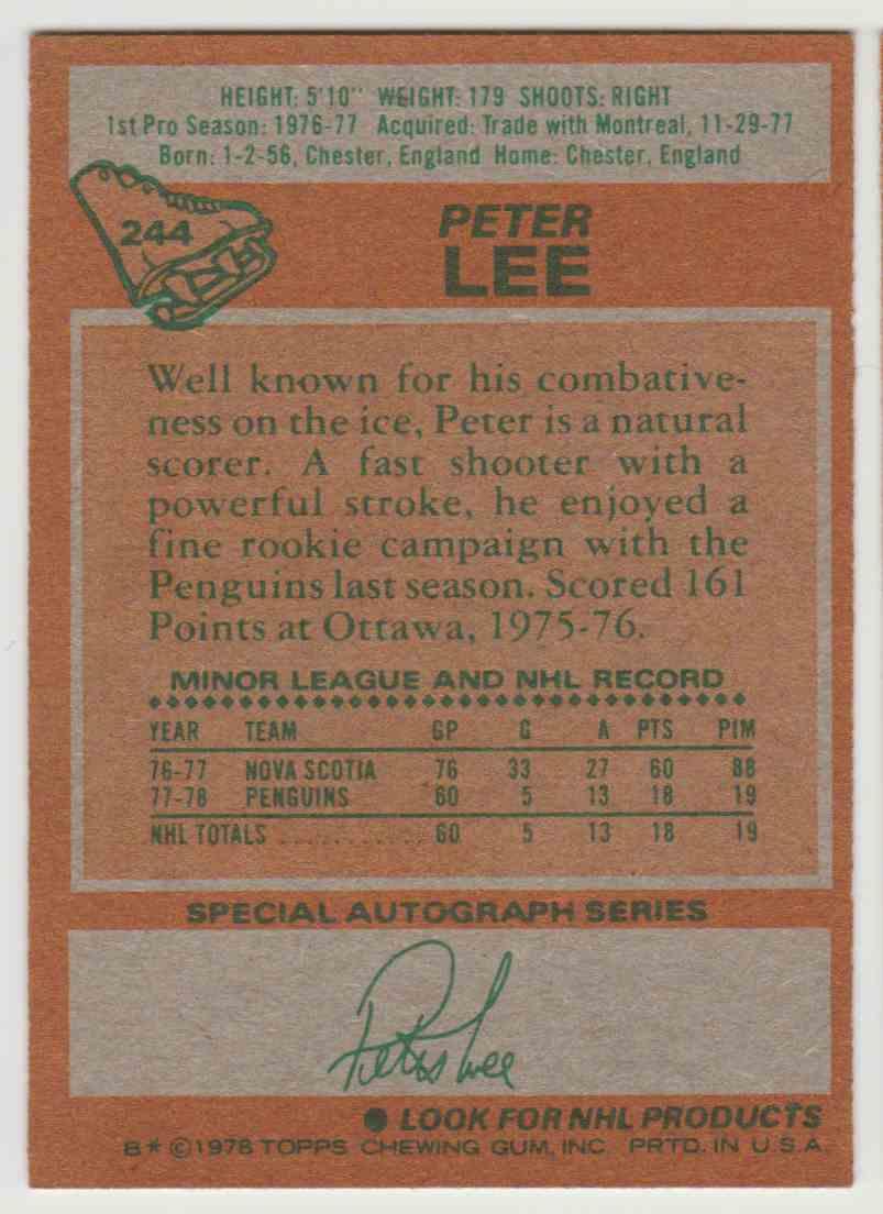 1978-79 Topps Peter Lee #244 card back image