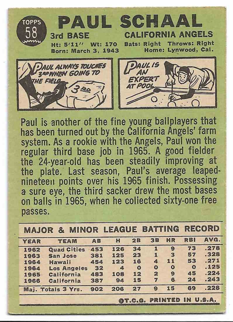 1967 Topps Paul Schaal #58 card back image