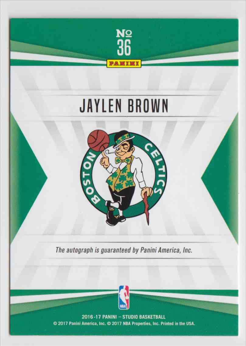 2016-17 Panini Studio Signatures Magenta Jaylen Brown #36 card back image