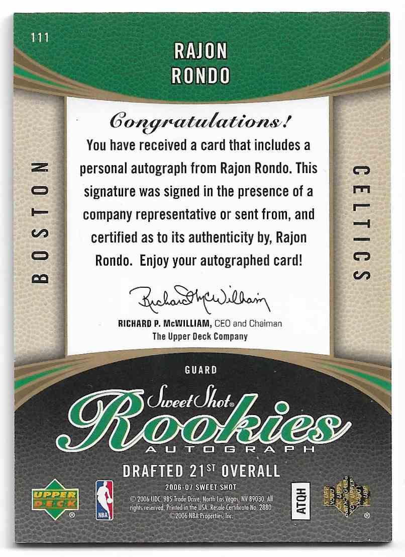 2006-07 Upper Deck Sweet Spot Rookies Rajon Rondo #111 card back image