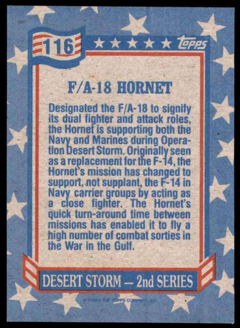 1991 Desert Storm Topps F/A-18 Hornet #116 card back image