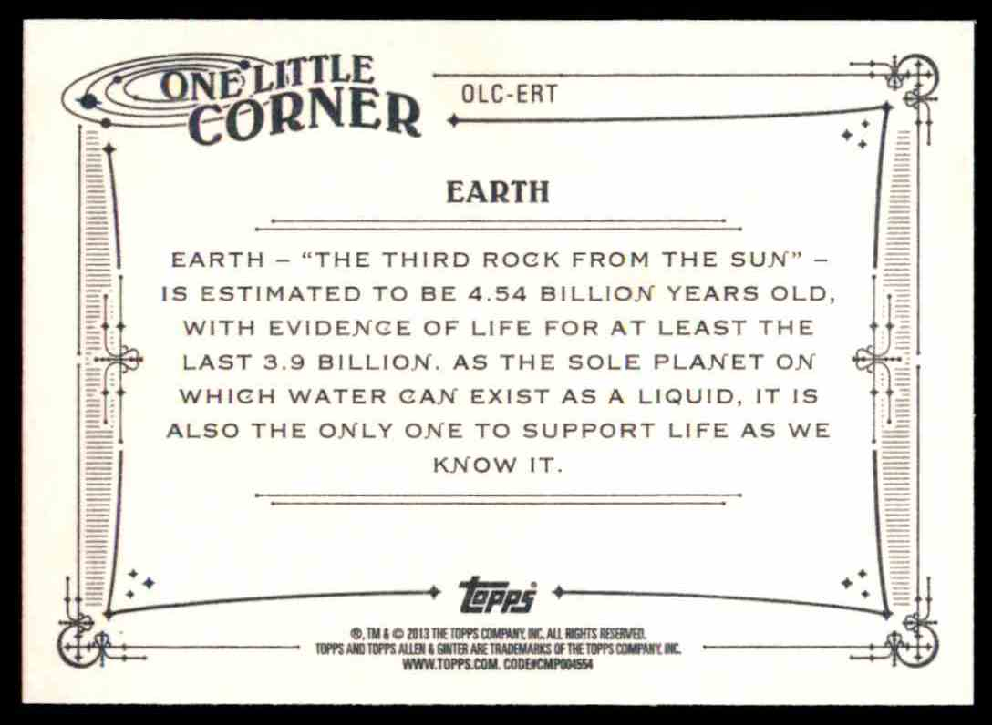 2013 Topps Allen And Ginter One Little Corner Earth #ERT card back image