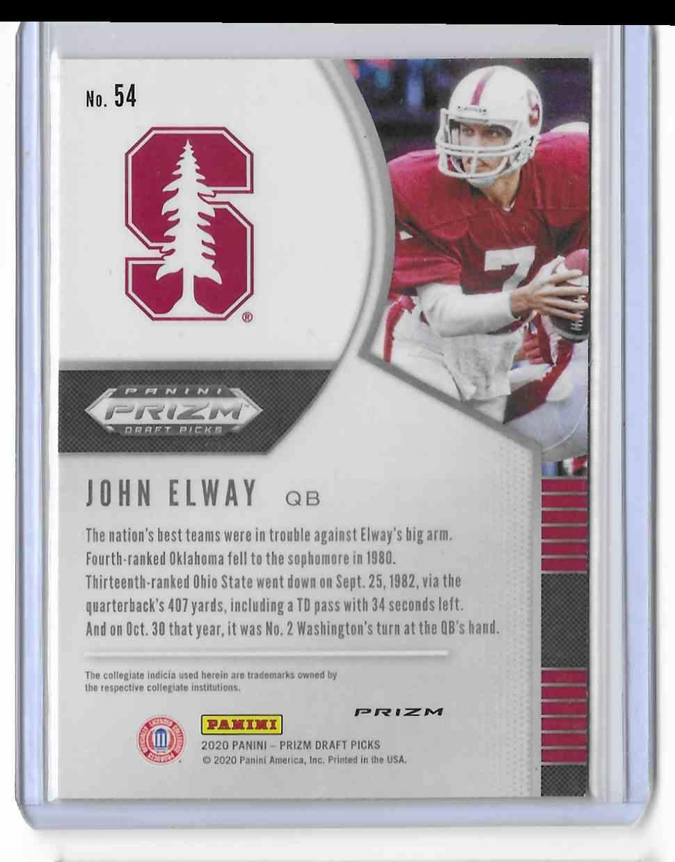 2020 Panini Prizm Draft Picks Red John Elway #54 card back image