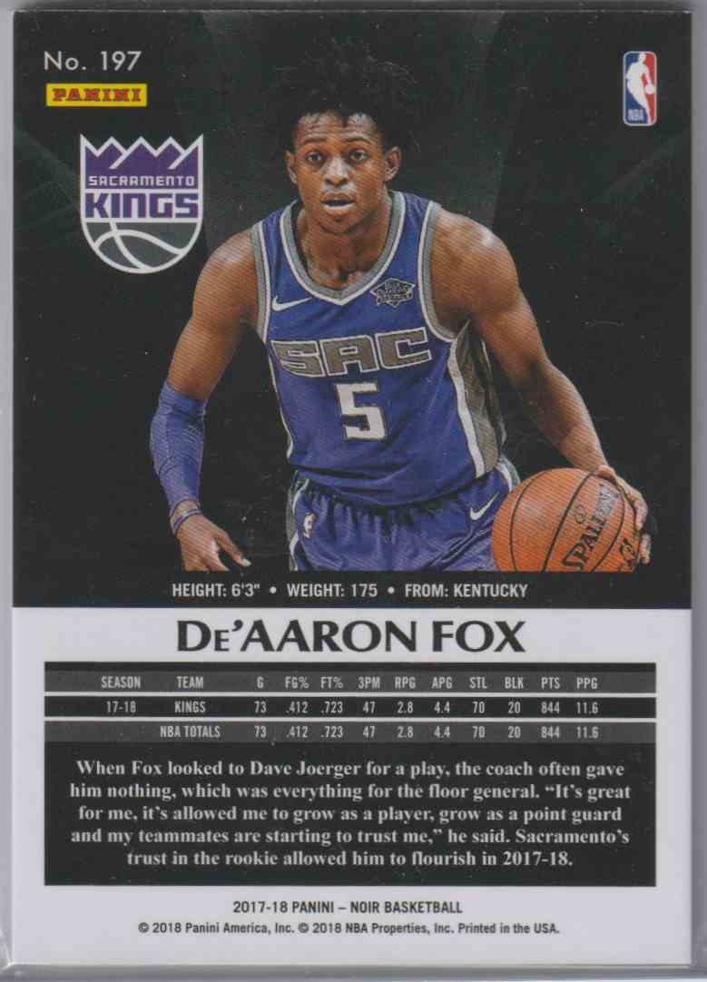 2017-18 Panini Noir Base Away De'Aaron Fox #197 card back image