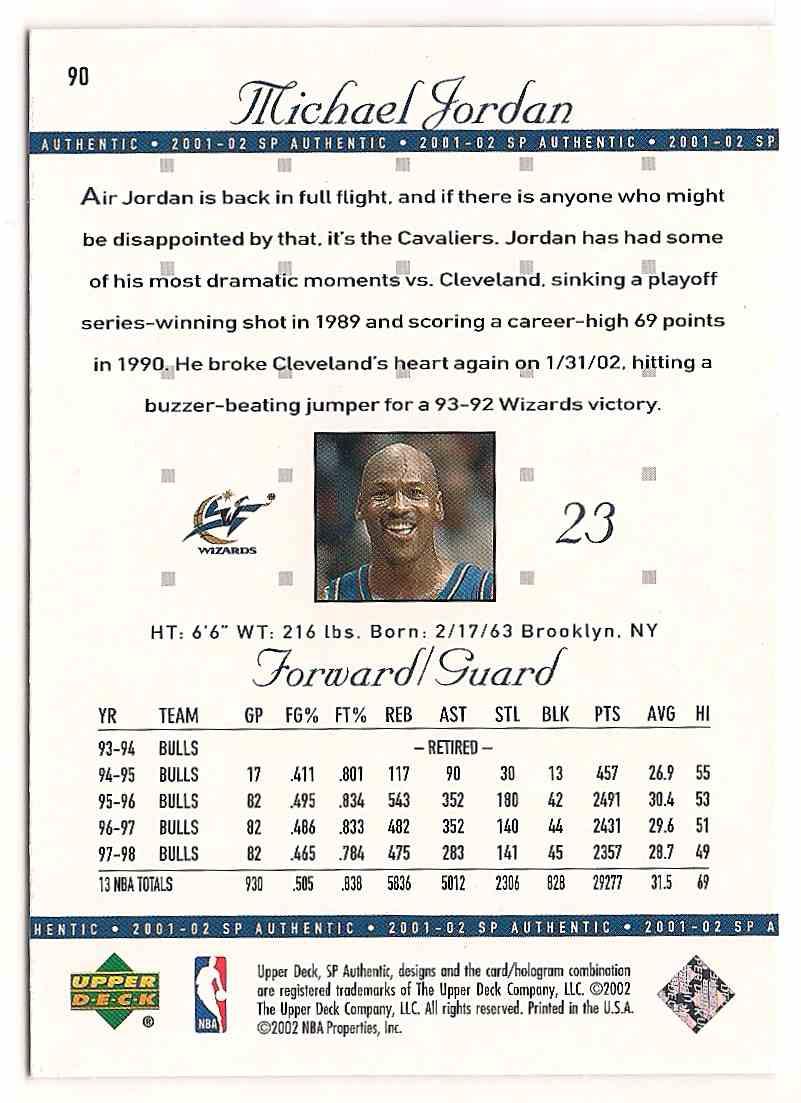 2001-02 SP Authentic Michael Jordan #90 card back image