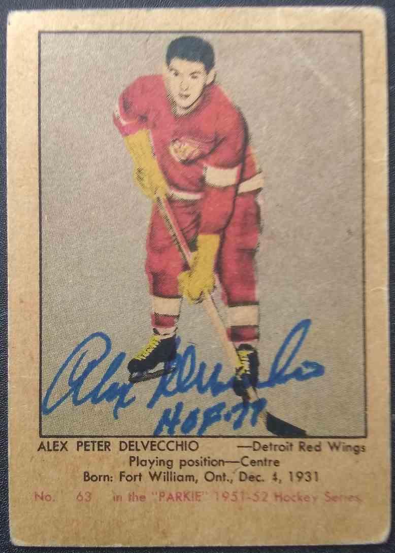 1951-52 Parkhurst Alex Delvecchio #63 card front image