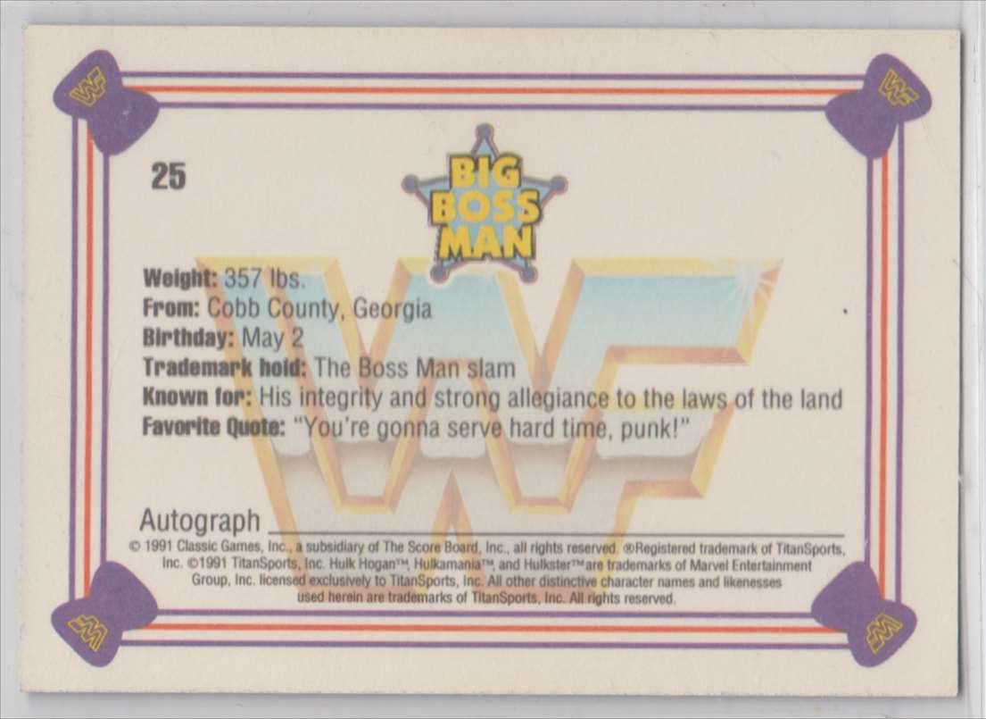 1991 Classic WWF Superstars Big Boos Man #25 card back image